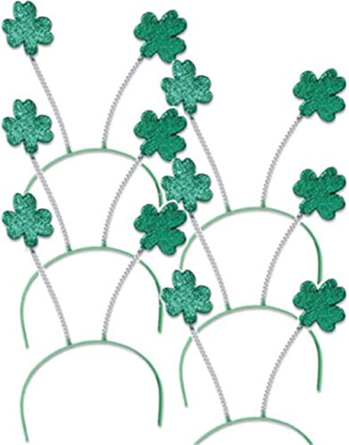 Set 6 St Patricks Day Green Shamrock Head Boppers Hats