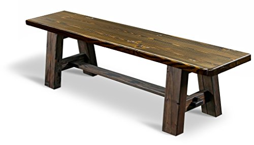 Vintage Flooring & Furniture RWB519-5E/E Tusk Tenon Wood Bench with Ebony Top & Ebony Base