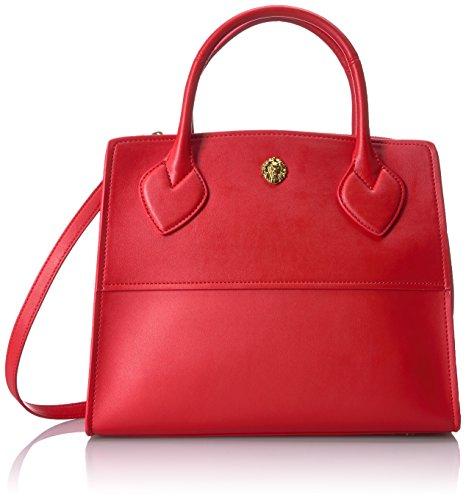 Anne Klein Maya Zip Satchel, Fire Red-Dolphin/Fire Red (Satchel Red Handbag)