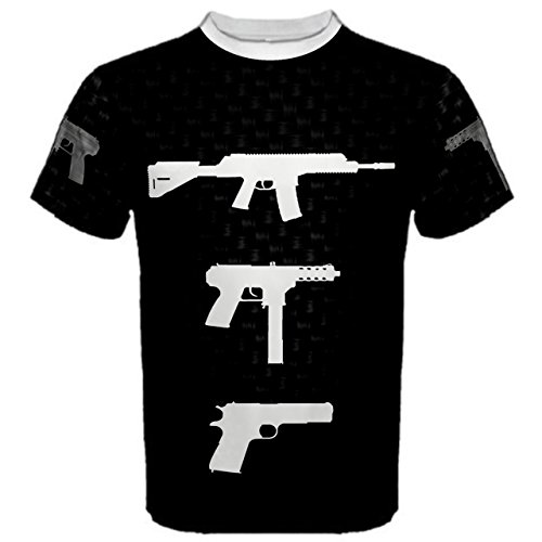 WorldX Mens Assault Rifle Hand Gun AK-47 Shooting Weapons Men's Sport T-shirt, T - S