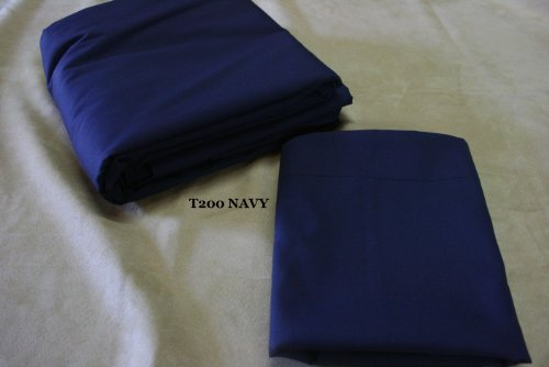 - Linen Superstore Navy -50/50 Cotton Percale King Waterbed Sheet Set with Free Stay Tuck Poles