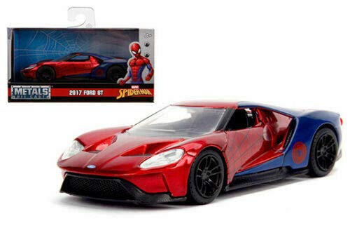 New DIECAST Toys CAR JADA 1:32 W/B - Metals - Hollywood Rides - 2017 Ford GT - Spider-Man Theme (RED/Blue) -
