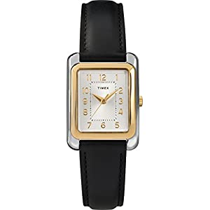 Timex Women's TW2T28900 Meriden Black/Two-Tone Leather Strap Watch