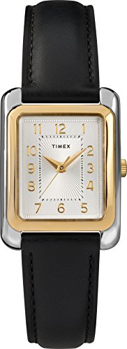 Timex Women's TW2T28900 Meriden Black/Two-Tone Leather Strap Watch Black Leather Square Watch