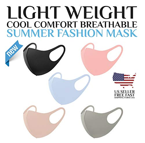 Knitting Factory Light Weight Unisex Adult Fashion Face Covering, Reusable, Dust Proof, Washable, Cool 5 Mixed Colors from US (Set A)