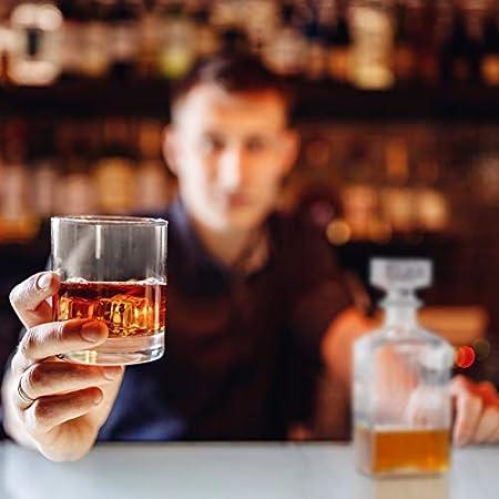 Relaxdays Decantador de whisky, Jarra con tapa, Dispensador de licor, 900 ml, Cristal, 1 Ud, Transparente