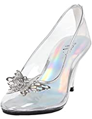 Womens Butterfly High Heels Clear Pumps Silver Trim Costume Shoes 3 Inch Heels