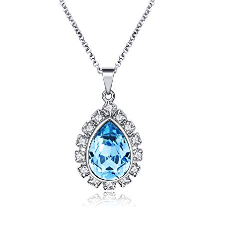 AirVocs Women Vintage Rhodium Plated Jewelry Necklace Pendant Teardrop Shape with Swarovski Crystals Elements,Gift for Mother's Day