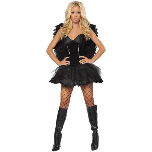Roma Costume 2 Piece Sexy Dark Angel Costume, Black, (2 Piece Sexy Dark Angel Costumes)