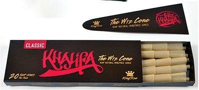 Wiz Khalifa RAW Classic Natural Unrefined Pre-rolled Cones - King Size 110mm - 20 Wiz Cones per Box - (1 Box)