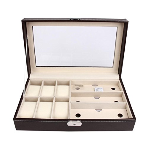 DZT1968 Leather 6 Watch Jewelry Case and 3 Piece Eyeglasses