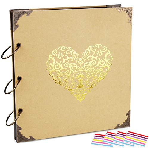 (ADVcer Photo Album DIY Scrapbook, 10x10 inch 50 Pages Double Sided, Vintage Hardcover Three-Ring Binder Picture Booth with 408pcs 6 Colors Self Adhesive Photos Corners (Champagne, Gold Blocking Heart))
