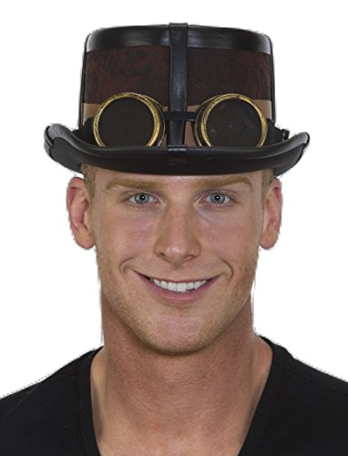 Steampunk Hat (Brown Steampunk Hat with Black Straps)