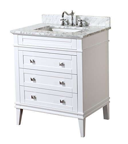 Eleanor 30-inch Bathroom Vanity (Carrara/White): Includes a White Cabinet, Soft Close Drawers, a Natural Italian Carrara Marble Countertop, and a Ceramic Sink - White cabinet with soft-close drawers Authentic Italian Carrara marble countertop. Color & pattern may vary from pictures. High-end furniture-grade construction. Made with 100% solid wood and plywood only! Absolutely no MDF or cheap particle board anywhere in this product. - bathroom-vanities, bathroom-fixtures-hardware, bathroom - 419HiLpaUQL -