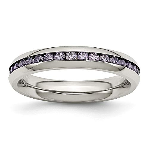 Forever Flawless Jewelry 4mm Stainless Steel High Polish Finish Channel Set February Purple CZ Eternity Band - Size 6