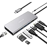 USB C Hub, USB Type C Adapter 9-in-1 with USB C Charging Port, 4K@30Hz HDMI, 3 USB 3.0, RJ45 Gigabit Ethernet, SD/microSD Card Reader, Audio Jack for MacBook Pro Chromebook Other Type C Devices