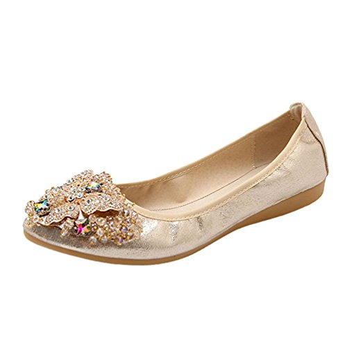 On for Rhinestone Toe Pointed Loafers Moccasins Elegant Soft Glitter Ladies Gold Driving Slip Jitong Flats 5YIvwqn