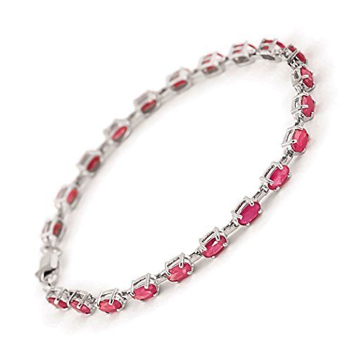 14k Solid White Gold Tennis Bracelet with 8 Carat (CTW) Natural Red Ruby -3556W (7) ()