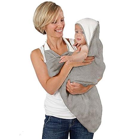 Cuddledry – Toalla de manos libre para bebé, suave color gris con ribete de estrella gris: Amazon.es: Bebé