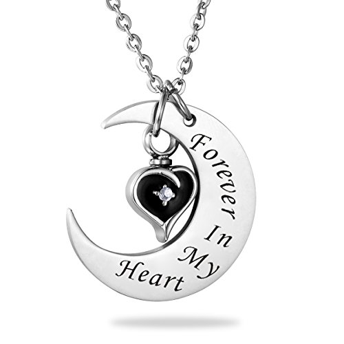 Heart Keychain Personalized (HooAMI Cremation Jewelry Forever In My Heart Clear Black Heart Urn Necklace with Personalized Engraving)