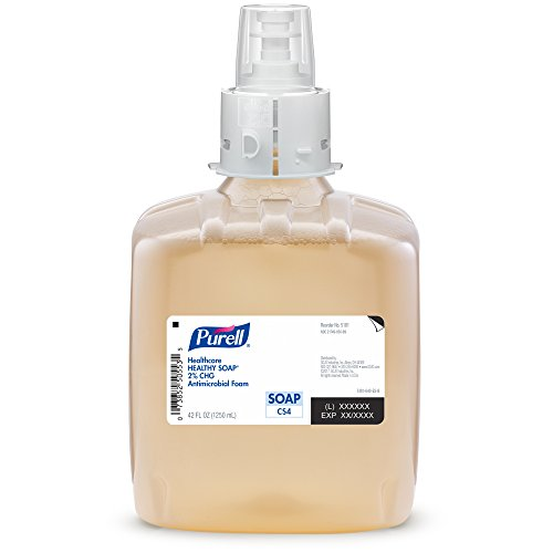 PURELL CS4 Healthcare HEALTHY SOAP 2.0% CHG Antimicrobial Foam Refill, Fragrance Free, 1250 mL Soap Refill for PURELL CS4 Push-Style Dispenser (Case of 3) -  - Hand Health Personnel Care Wash