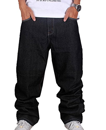 Tomteamell Mens Denim Pants Hip Hop Loose Fit Baggy Jeans Waist 34