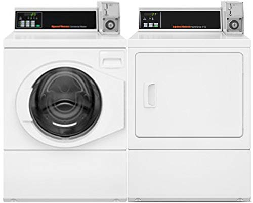 "Speed Queen Front Load Energy Star SFNNCRSP115TW02 27"" Washer with SDENCRGS173TW02 27"" Electric Dryer Commercial Laundry Pair in White"