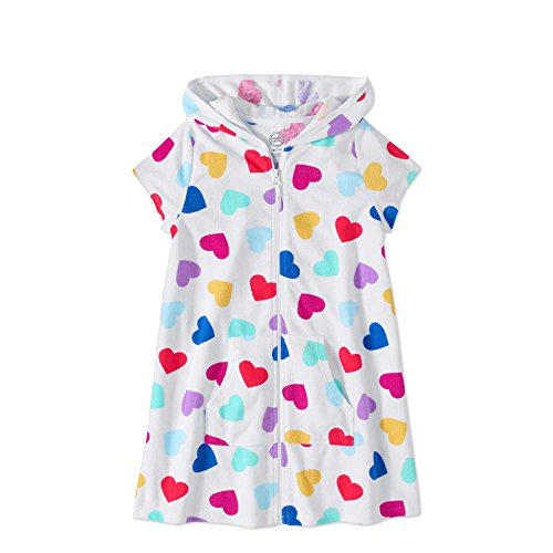 Wonder Nation Girls Hooded Zip Front Terry Swimsuit Cover Up (X-Large 14/16, Rainbow hearts)