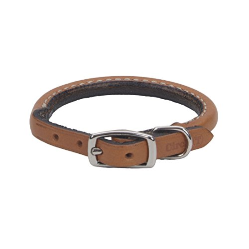 """Coastal Pet Products Circle T Oak Tanned Leather Round Dog Collar, 3/8"""" x 14"""", Tan"""