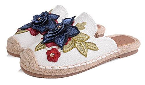 Showhow Womens Floral Cap Teen Geweven Slip Op Flats Pomp Schoenen Wit