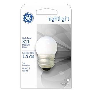 GE Lighting 41267 7.5-Watt Nightlight, Soft White, S11 1CD Light Bulb