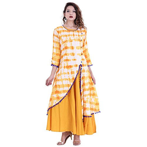 Chichi Indian Women Kurta Kurti 3/4 Sleeve Large Size Floral Printed Round Anarkali Orange-White Top by CHI