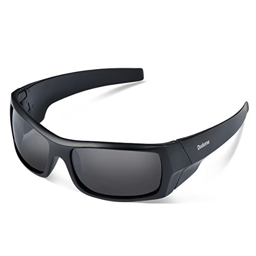 Duduma Tr601 Polarized Sports Sunglasses for Baseball Cycling Fishing Golf Superlight Frame(139 Black matte frame with black lens)