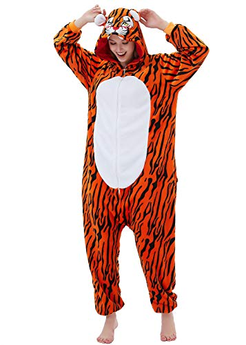 ABENCA Fleece Onesie Pajamas for Women Adult Cartoon Animal Unicorn Christmas Halloween Cosplay Onepiece Costume (L for Height 5'7 to 5'11, D - Tiger)]()