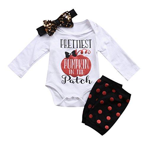 Newborn Baby Boy Girl Sayings Romper Tops + Headband+ Polka Dot Leg Warmer 3PCS Outfits Set Clothes (Tag 70/0-3 Months, White)