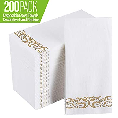 [200 Pack] Disposable Guest Towels Soft and Absorbent Linen-Feel Paper Hand Towels Durable Decorative Bathroom Hand Napkins for Kitchen,Parties,Weddings,Dinners or Events,White and Gold: Kitchen & Dining