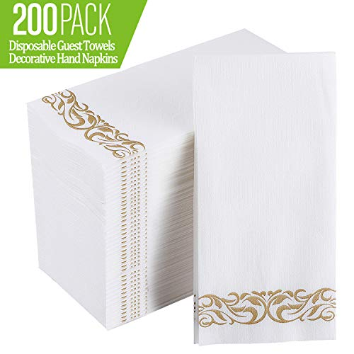 Disposable Guest Towels ([200 Pack] Disposable Guest Towels Soft and Absorbent Linen-Feel Paper Hand Towels Durable Decorative Bathroom Hand Napkins for Kitchen,Parties,Weddings,Dinners or Events,White and)
