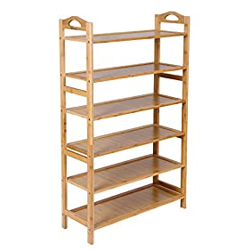Songmics ULBS26N Bamboo 6-Tier Rack Entryway Shoe Sh