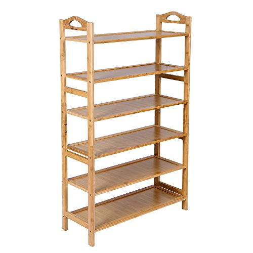 SONGMICS Bamboo 6-Tier Shoe Rack 18-24 Pairs Entryway Shoe Shelf Storage Organizer ULBS26N