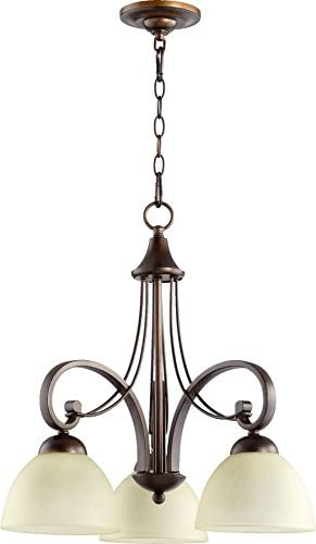 Quorum 6331-3-86 Transitional Three Light Chandelier from Lariat Collection in Bronze Dark Finish