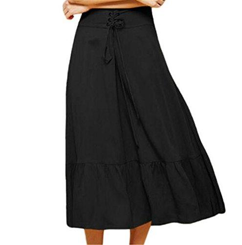 OMUUTR Nouvelle t Nouvelle Mode Haute Taille Bandage Jupe Plisse Femme Ourlet Plis Large Jambe Crosse Genou Jupe -Noir/Jaune/Tailles  Choisir 4 Noir S