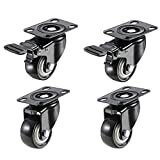 Ogrmar 4PCS 2'' Heavy Duty Caster Wheels Polyurethane PU Rubber Swivel Casters with 360 Degree Rectangle Top Plate 529lb Total Capacity Without Noise