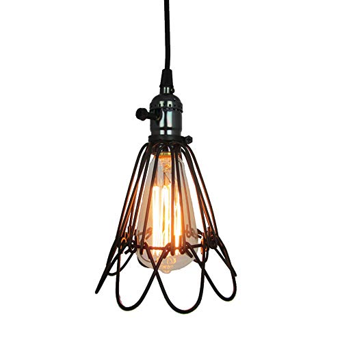 Cheap Vintage Minimalist Pendant Light, MKLOT Ecopower Retro Industrial 3.94″ Wide Bird Cage Style Hanging Pendant Lighting Fixture Metal Shade Iron Wire Cage Ceiling Lamp Guard, 1 Pack