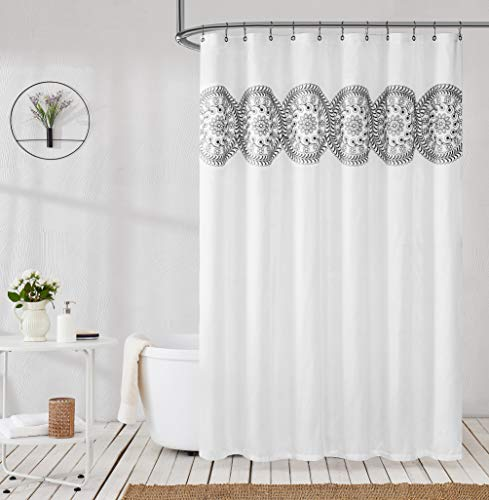 Jubilantex White Embroidered Shower Curtain for Bathroom, Black and White Boho Farmhouse Floral Decorative Waterproof…