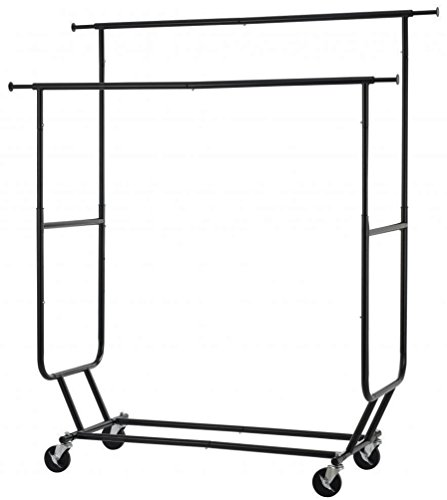 Commercial Grade Collapsible Clothing Rolling Double Garment Rack Heavy Duty Steel Hanger/ Black - Richmond Eyeglass Stores Va