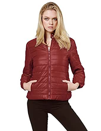 Made by Emma Lightweight Solid Basic Outdoor Sports Quilted Puffer Jacket Wine S