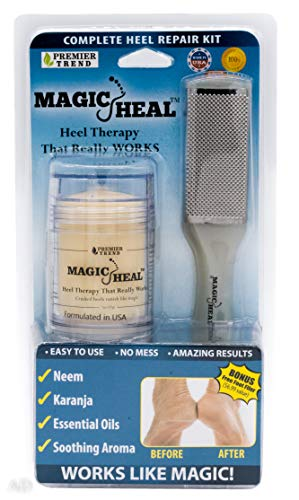 Magic Heal Cracked Heel Treatment For Cracked Heels - Dry Feet Lotion Kit to Repair, Soothe & Beautify Your Painful Dry Foot Skin - Includes Foot File - Fast Results, No Mess Application, No Parabens