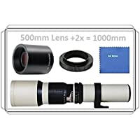 Vivitar 500mm f/8.0 Manuel Focus Telephoto Lens (White) + 2x Teleconverter = 1000mm For Canon EOS Rebel T6s, T6i, SL1, (100D), T5, (1200D) T5i, (700D), T4i, (650D), T3, (1100D), T3i, (600D), T1i, (500D), T2i, (550D) XSI, XS, XTI, XT, 70D, 60D, 60Da, 50D, 40D, 30D, 20D, 10D, 7D, 6D, 5D, 5DS, 5DS R, 1D, 1D X, 1D S, 5D, 7D (Mark II, III, IV, Mark 2, 3 4) Digital SLR Cameras Key Pieces Review Image