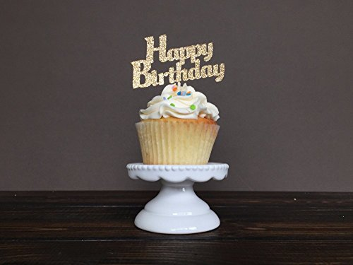 24pcs Gold,Glitter Script Happy Birthday Cupcake Toppers,Kid's Party Picks Decoration Favors Cake Decorations (American Flag Cupcake Picks)