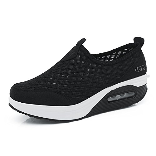 EnllerviiD Women RX7763hei41 Athletic CMEI Shoes Fitness Light On Slip B Shoes 8 Weight Platform US M Walking Black EF5xqdXqUw